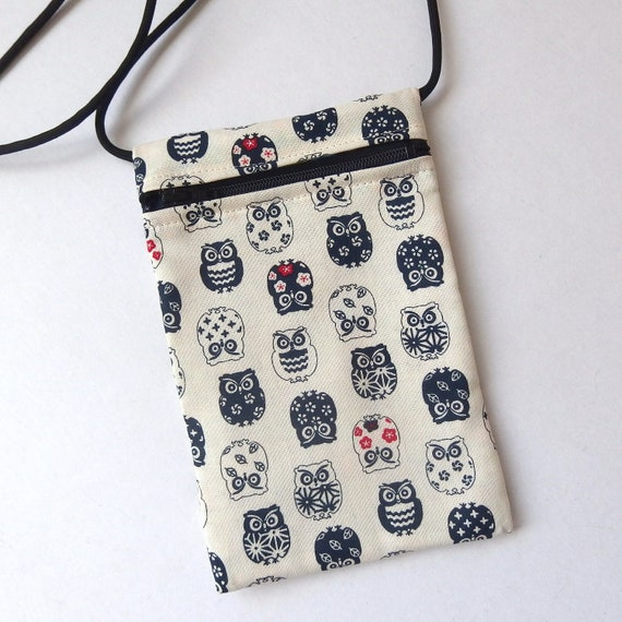 6.75 x 4.25 markets Cell Phone Pouch travel Pouch Zip Bag CATS BLUE Fabric great for walkers Small fabric Purse Cross Body bag