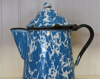 Antique Enamel Marbled Graniteware Lidded Pitcher Jug Blue White Enamelware