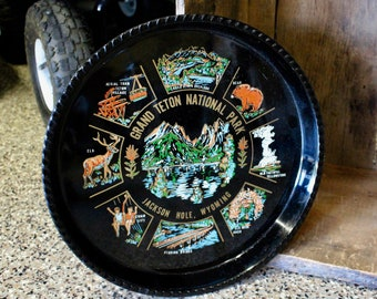 Vintage Grand Teton National Park Jackson Hole Wyoming Serving Dinner Tray Made In Japan
