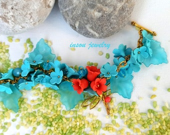 Pastel Jewelry Flower Bracelet Romantic Jewelry Flower Jewelry Colourful Bracelet Handmade Bracelet Fashion Jewelry Gift For Her Flowers