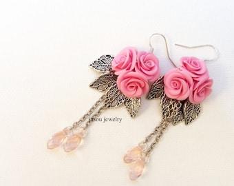 Pink Roses Pink Earrings Flower Earrings Roses Jewelry Pink Jewelry Flower Jewelry Romantic Jewelry Dangle Earrings Polymer Gift For Her