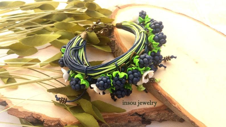 Blue Bracelet Flower Jewelry Handmade Bracelet Floral Bracelet Wrap Bracelet Boho Bracelet Cotton Cord Bracelet Blackberry Gift For Her