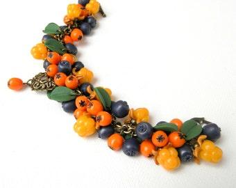 Charm Bracelet, Fall Bracelet, Berry Jewelry, Women Gift, Handmade Bracelet, Berries, Blueberry, Colourful Jewelry, Statement Bracelet, Fall