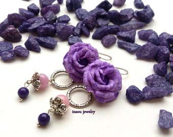 Flower Earrings, Lilac Earrings, Statement Earrings, Romantic Earrings, Lilac Jewelry, Handmade Jewelry,Lisianthus,Jade Jewelry,Gift For Her