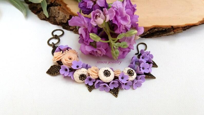 Gift For Her Roses Flower Bracelet Handmade Bracelet Pastel Bracelet Jade Jewelry Wedding Bracelet Wedding Jewelry Lilac Floral