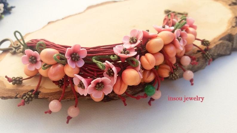 Fruit Jewelry Women Gift Flower Bracelet Charm Bracelet Boho Bracelet Wrap Bracelet Cotton Cord Bracelet Spring Jewelry Red Bracelet