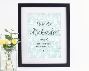 Personalised Wedding Print Botanical Watercolour Mint
