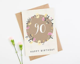 Birthday Card 90th Floral