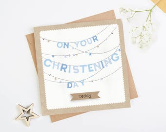 Daughter Granddaughter Goddaughter Girl Personalised Christening Bonnet Card