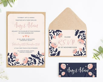 Navy blush invite Etsy