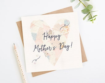 Mother's Day Card Patchwork Heart