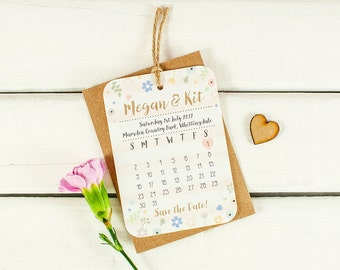 Pastel Floral with Watercolour Stripe Calendar Save the Date