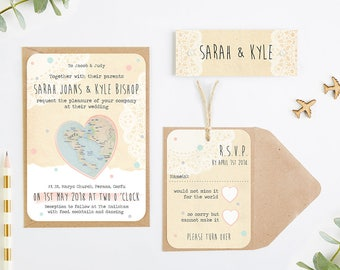 Map wedding invitation - rustic bundle wedding invitation