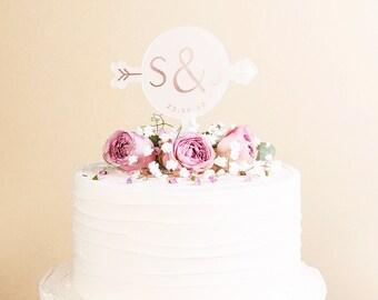 Rose Gold Arrow Wedding Cake Topper