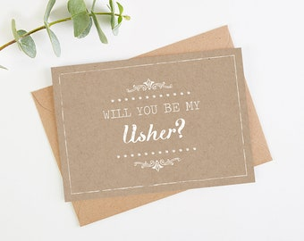 Will You Be My Usher Card - Kraft Rustic