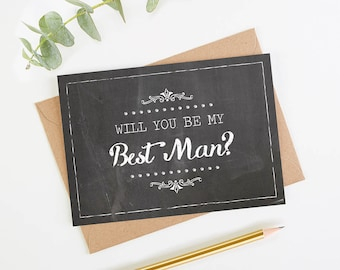 Will You Be My Best Man Card - Chalk Rustic