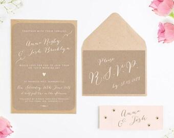 Calligraphy Collection Kraft & Blush Wedding Invitation Bundle