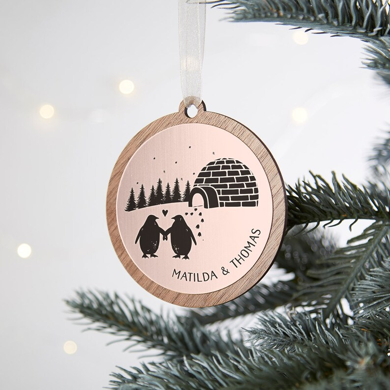 Girlfriend Boyfriend Christmas Tree Decoration Personalised Christmas Bauble Festive Tree Decoration Gold Rose Gold Penguins