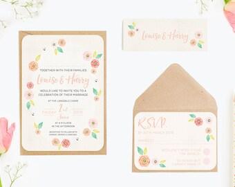Bright Floral Bundle Wedding Invitation Bundle