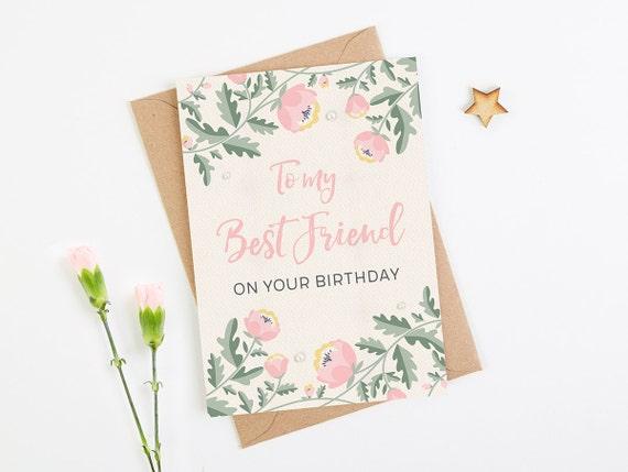 Besten Freund Geburtstagskarte Rosa Blumen Etsy