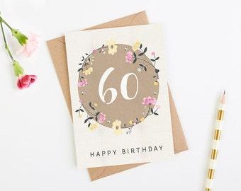 60th Birthday Card Floral