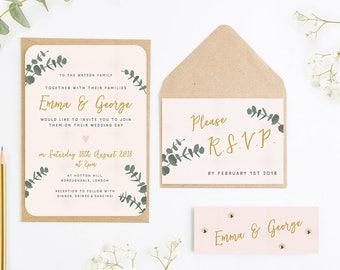 Leafy Blush Wedding Invitation Bundle