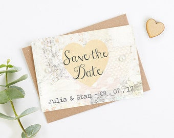 Floral Patchwork Folded Save the Date