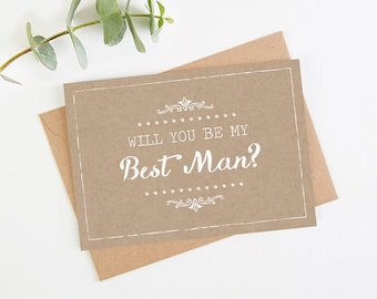 Will You Be My Best Man Card - Kraft Rustic