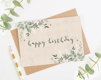 Birthday Card Green Botanical