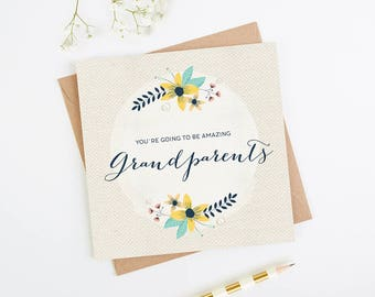 New Grandparents Floral Card