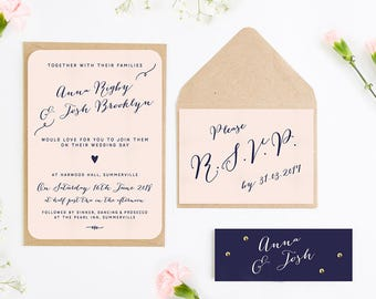 Calligraphy Collection Blush & Navy Wedding Invitation Bundle