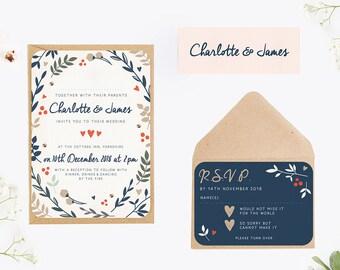 Winter Blush & Navy Botanical Wedding Invitation Bundle