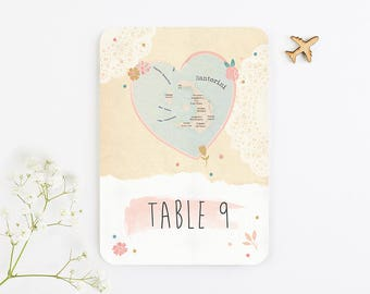 Floral Map Wedding Table Number
