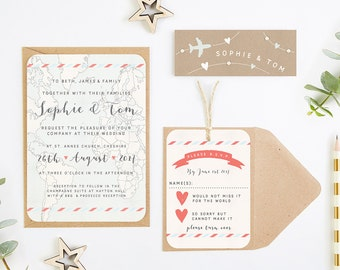 Travel Collection – Map & Kraft Wedding Invitation Bundle