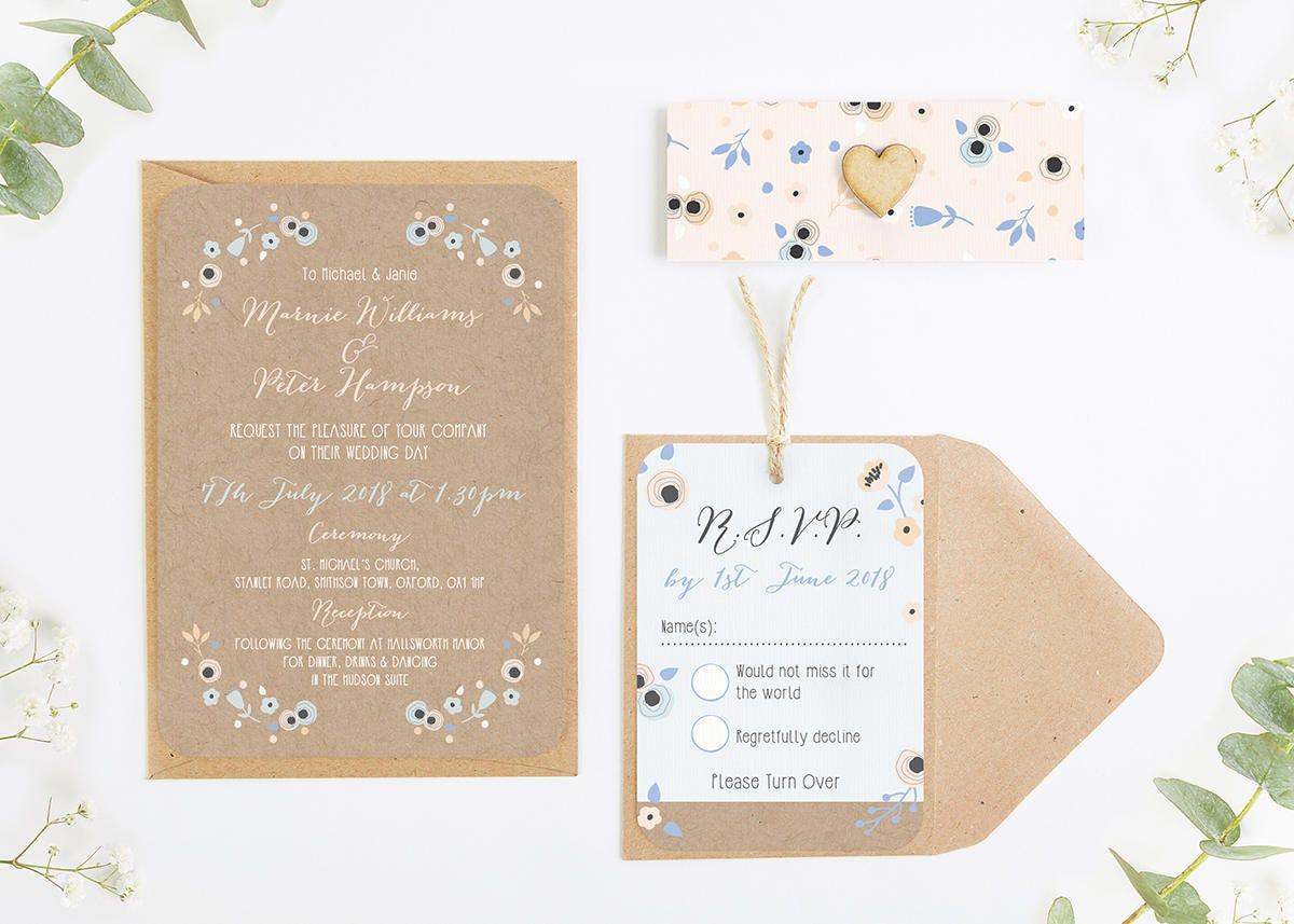 Floral Kraft Peach and Cornflower Blue Wedding Invitation