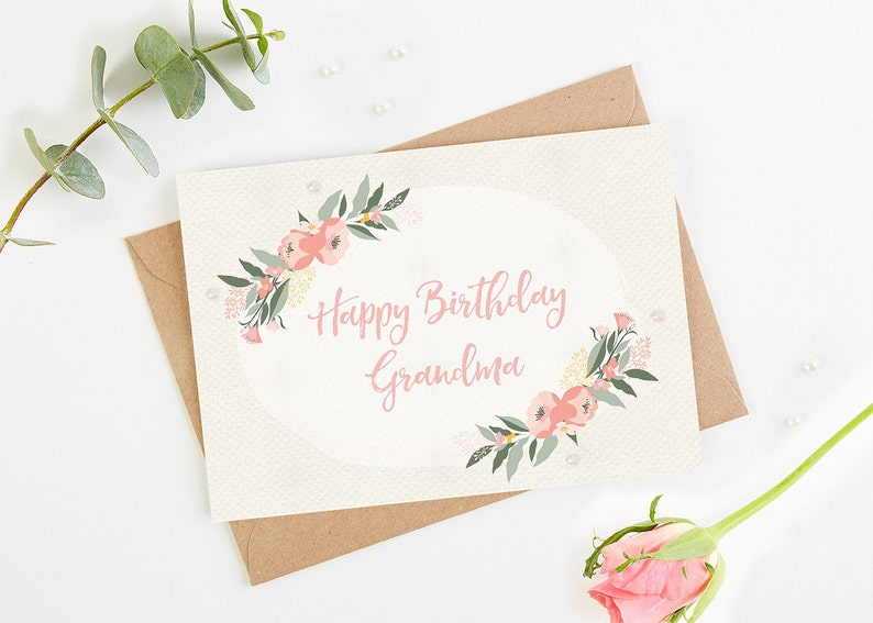 Birthday Card Grandma Floral Botanical