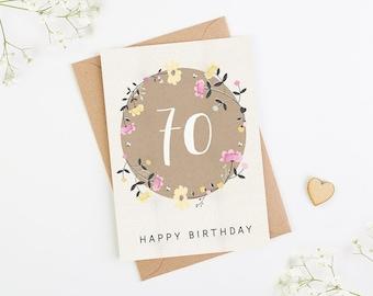 70th Birthday Card Floral