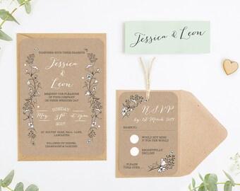 Kraft & Blush Wild Flowers Wedding Invitation Bundle