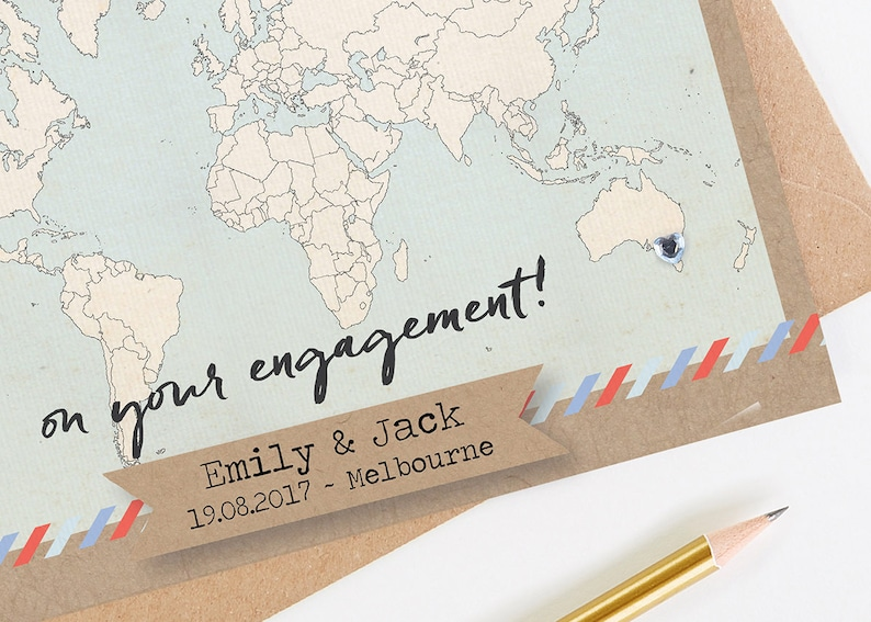 World Map Map Engagement Card Engagement Card Personalised