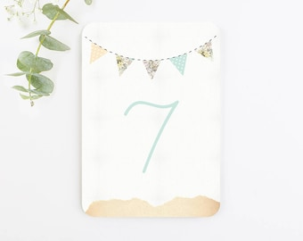 Country Bunting Wedding Table Number