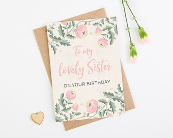 Sister Birthday Card Pink Floral