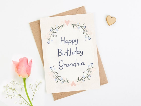 Grandma Birthday Card Blush Floral Etsy