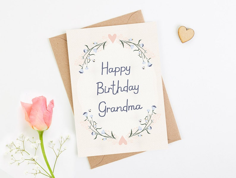 Birthday Card Grandma Blush Floral
