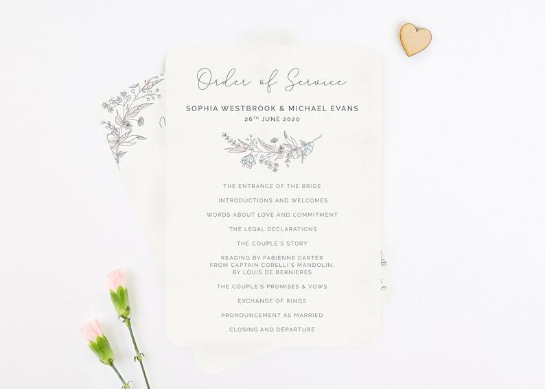 Wedding Order Of Service.Vintage Floral Wedding Order Of Service Sheet