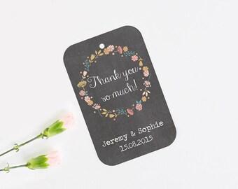 Chalkboard floral favour tag