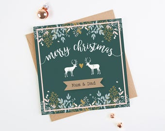 Personalised Christmas Card Botanical Stag