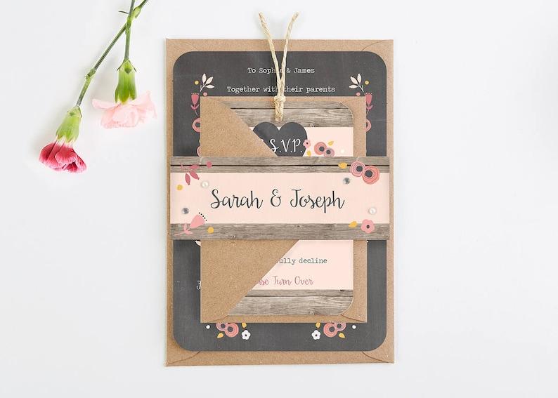 Wedding Invitation  Berry Floral Chalkboard wedding image 0