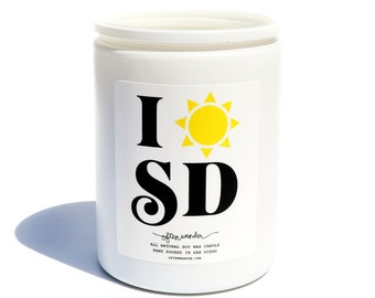 City Love 'I Sunshine San Diego' Candle—Coconut + Bamboo // Often Wander // Soy Candle // SD // California // Hand Made // Gifts for Home