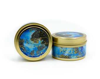 Travel Astrological Candle // Pisces // Water Sign // 100% Natural Soy Wax // Gifts for her // Gifts for him // Pisces Gifts // Travel Size