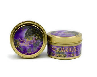 Travel Astrological Candle // Aquarius // Air Sign // 100% Natural Soy Wax // Gifts for her // Gifts for him // Aquarius Gifts
